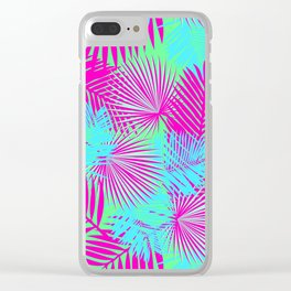 Neon Pink & Blue Tropical Print Clear iPhone Case
