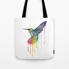 Hummingbird Rainbow Watercolor Tote Bag