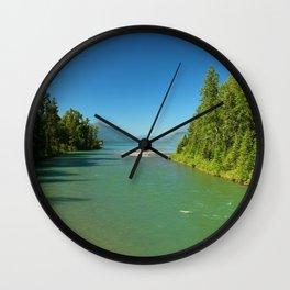 Green Waters Of McDonald River And Lake Wall Clock