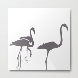 Three Flamingos Grey Silhouette Isolated Metal Print