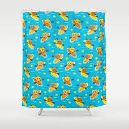 Cats and Dogs in Canoes Shower Curtain