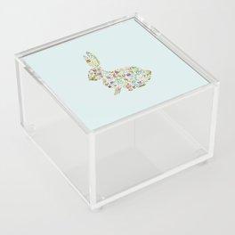 Spring Flowers Bunny on Blue Acrylic Box