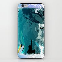 surfing iPhone & iPod Skins featuring Surfing by Robin Curtiss