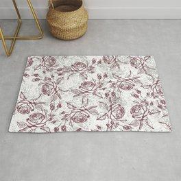 Vintage white gray burgundy floral marble Rug