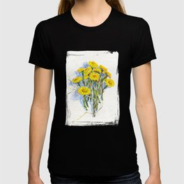 Yellow spring flowers-coltsfoot (watercolor on textured background) T-shirt