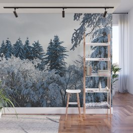 Winter Trees X - Snow Capped Forest Adventure Nature Photography Wall Mural