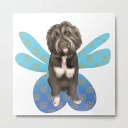 A Fluffy Pooch with Dainty Fairy Wings Metal Print