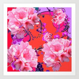 Delicate White & Pink Flower Blossoms Coral Art Art Print