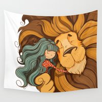 lion Wall Tapestries featuring Lion by Tatiana Obukhovich