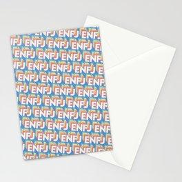 ENFJ Trendy Rainbow Text Pattern (Blue) Stationery Cards