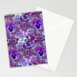 AWESOME GEOMETRIC LILAC PURPLE PANSIES GARDEN ART Stationery Cards