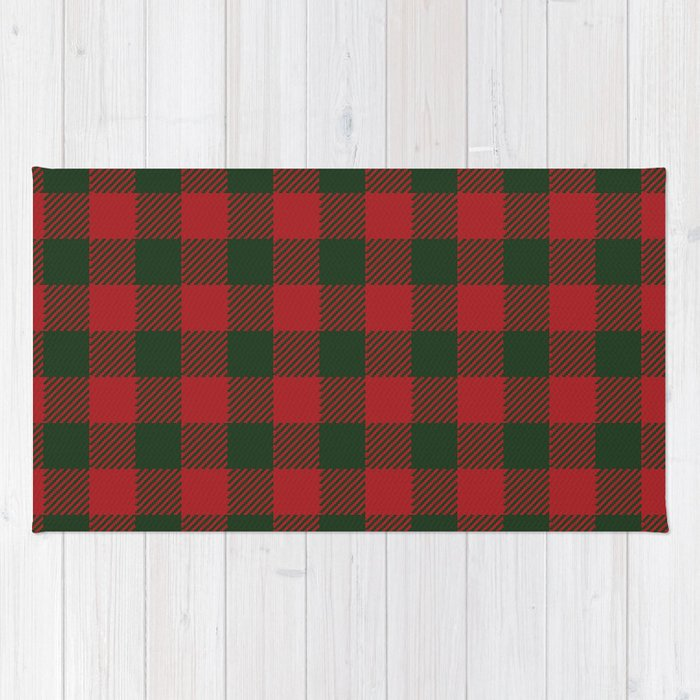 90 S Buffalo Check Plaid In Christmas Red And Green Rug