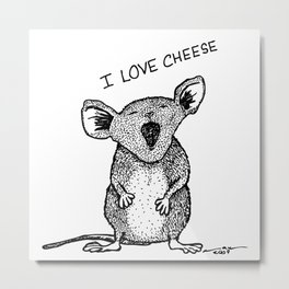 Cheese Mouse Metal Print