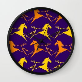 Horse Nation Purple Gold Wall Clock