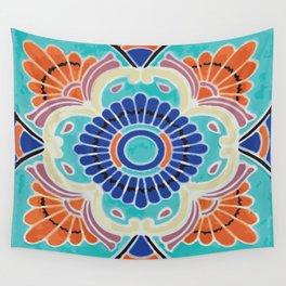 Aqua Tile Mexican Talavera Wall Tapestry
