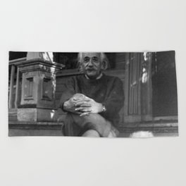 Albert Einstein in Fuzzy Slippers Classic Black and White Satirical Photography - Photographs Beach Towel