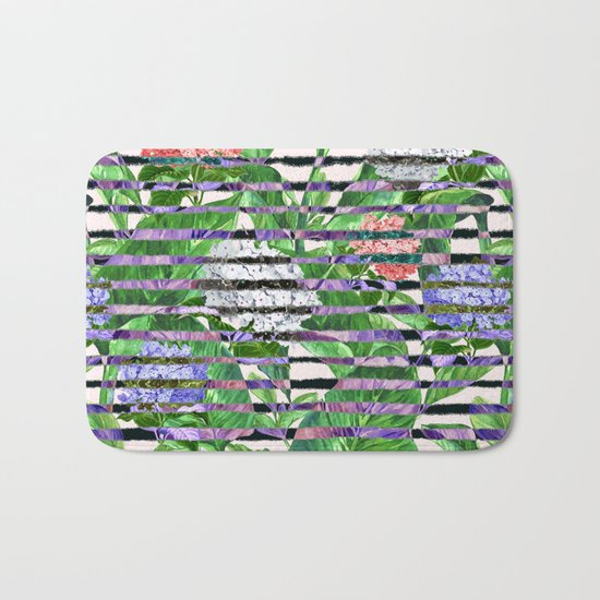 Stripes with Flowers Bath Mat