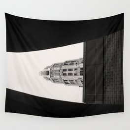 Mather Tower Building Top Chicago Black and White Photo Wall Tapestry
