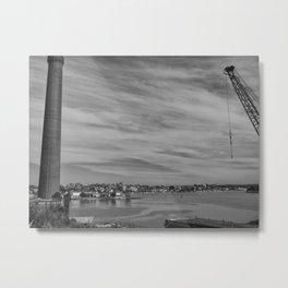 Chimney And Crane Metal Print