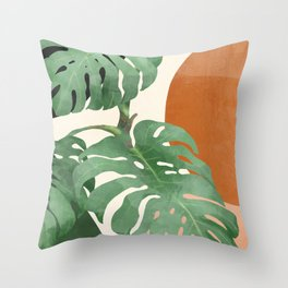 Tropical Leaves- Abstract Art  Throw Pillow