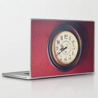 wall clock Laptop & iPad Skins featuring Old wall clock by Elisabeth Coelfen