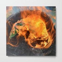 fire in a hollow log Metal Print