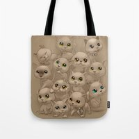 kittens Tote Bags featuring Kittens by Antracit