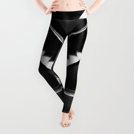 black and white endless stairs aesthetic abstract art print Leggings