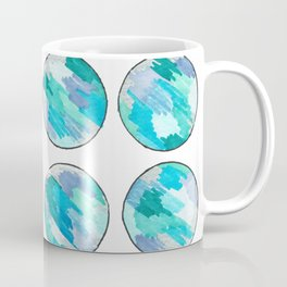 'An Ocean Dream' Abstract Illustration in blue, turquoise, aqua and silver Coffee Mug