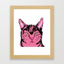 Cat in pink Framed Art Print