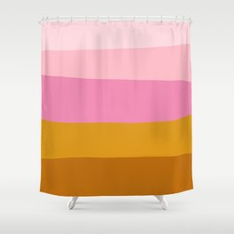 Abstract Organic Color Blocking in Pink and Honey Gold Shower Curtain