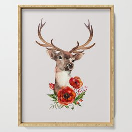 Deer with flowers 2 Serving Tray