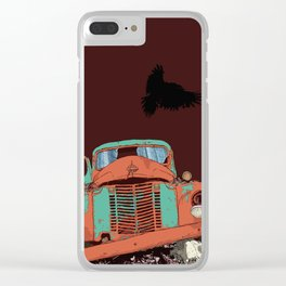 Art print: The old vintage car, the Raven and the Wolf skull Clear iPhone Case