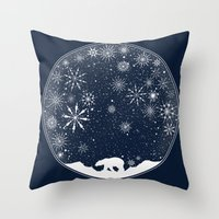 globe Throw Pillows featuring Snow Globe by Tobe Fonseca