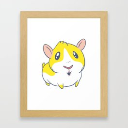 Cute & Kawaii Cartoon Yellow Guinea Pig Kids Decor Idea Animal Lover Art Framed Art Print