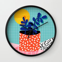 No Way - wacka potted house plant indoor cute hipster neon 1980s style retro throwback minimal pop Wall Clock