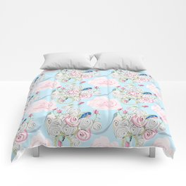 Shabby Chic Bluebirds and Watercolor Roses on pale blue Comforters