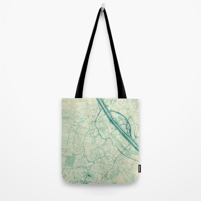 Vienna Map Blue Vintage Tote Bag