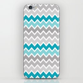 Teal Turquoise Blue Grey Gray Chevron Ombre Fade iPhone Skin