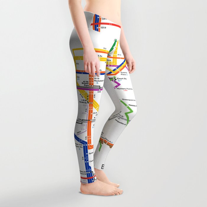 New York City subway map Leggings
