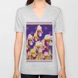 Iris Garden In Shades Of Purple Unisex V-Neck