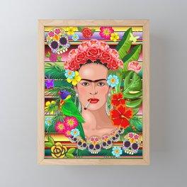 Frida Kahlo Floral Exotic Portrait Framed Mini Art Print