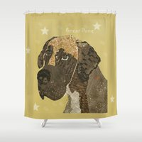 great dane Shower Curtains featuring the great dane by bri.buckley