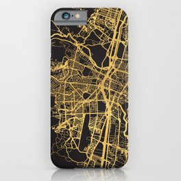 MEDELLIN COLOMBIA GOLD ON BLACK CITY MAP iPhone Case