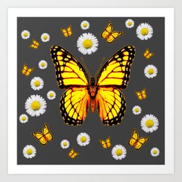 YELLOW MONARCH BUTTERFLIES WHITE DAISIES ON GREY Art Print