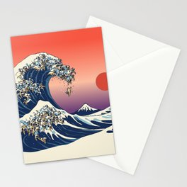 The Great Wave of Pugs / Square Stationery Cards