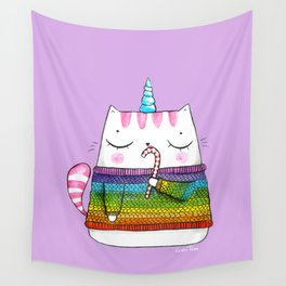 Rainbow Caticorn eating a candy cane Wall Tapestry