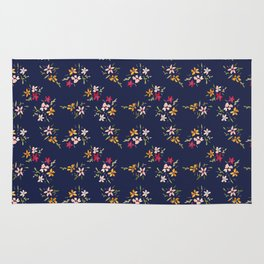 Vintage Inspired Navy Floral Bouquets Rug