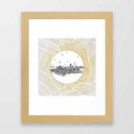 Los Angeles, California City Skyline Illustration Drawing Framed Art Print