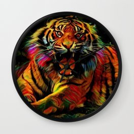 Dark Hipster Tiger (Wildlife Roar and Colorful) Wall Clock